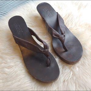 Kors Leather and Wood Thong Platform Heels